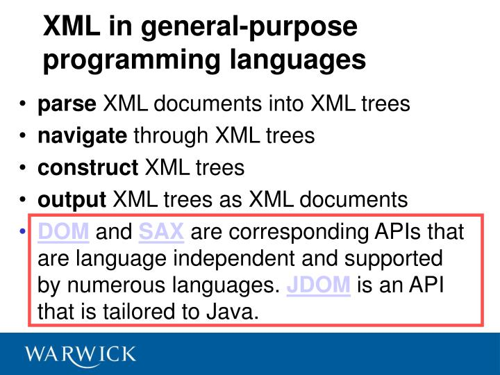 XML in general-purpose programming languages