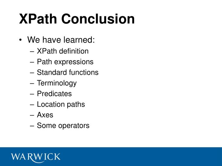 XPath Conclusion