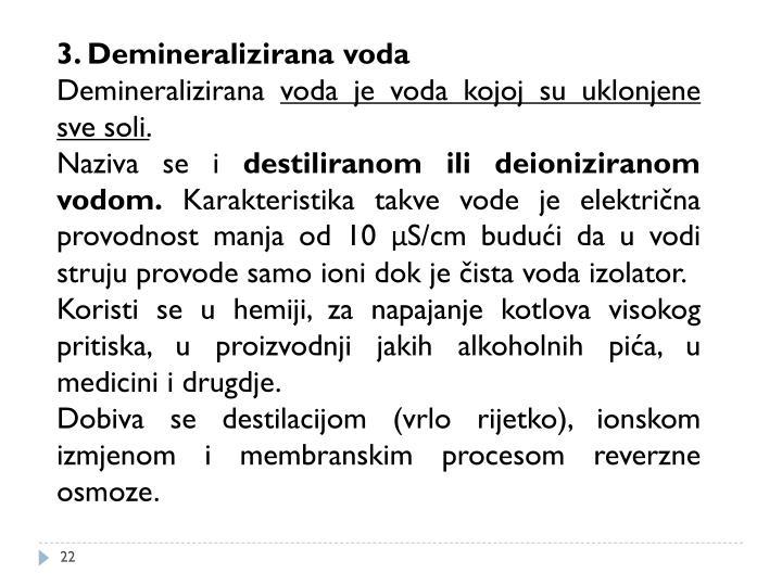 3. Demineralizirana voda