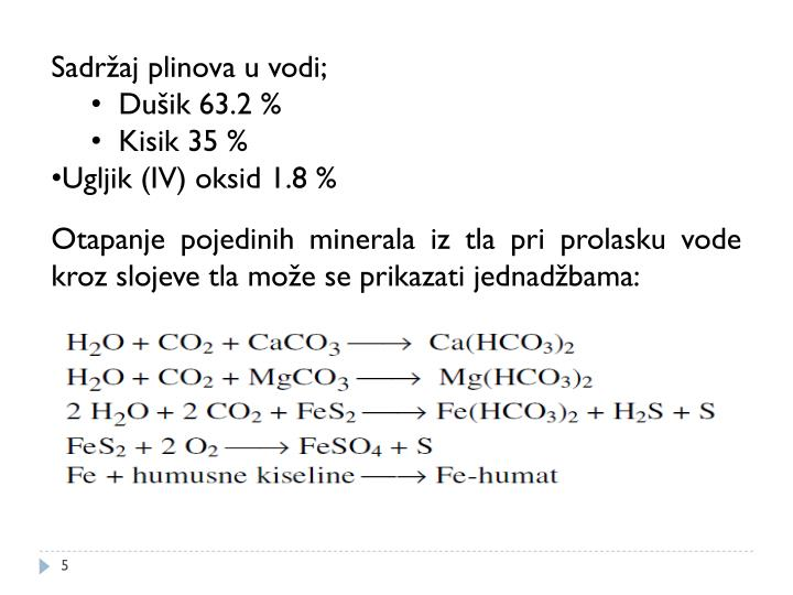Sadržaj plinova u vodi;