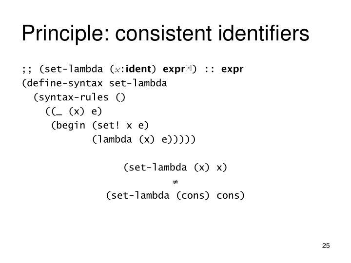 Principle: consistent identifiers