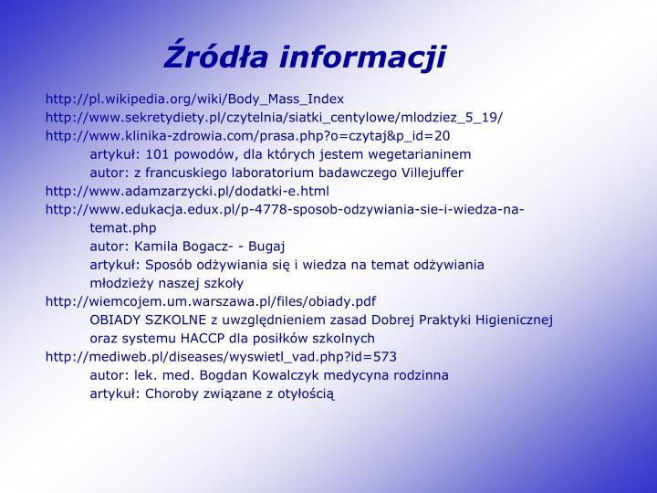 Źródła informacji
