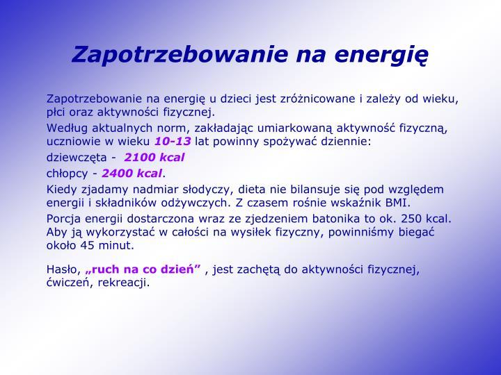 Zapotrzebowanie na energię