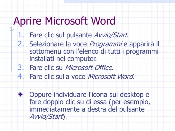 Aprire Microsoft Word