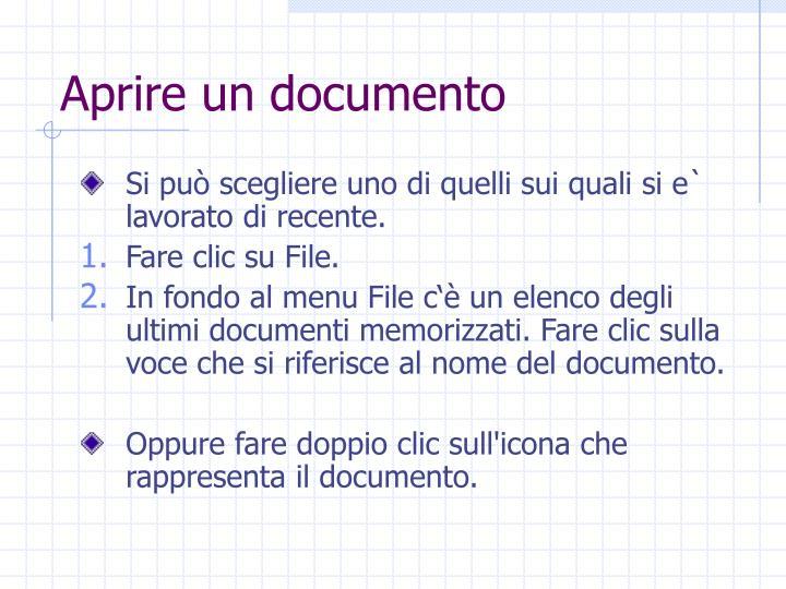 Aprire un documento