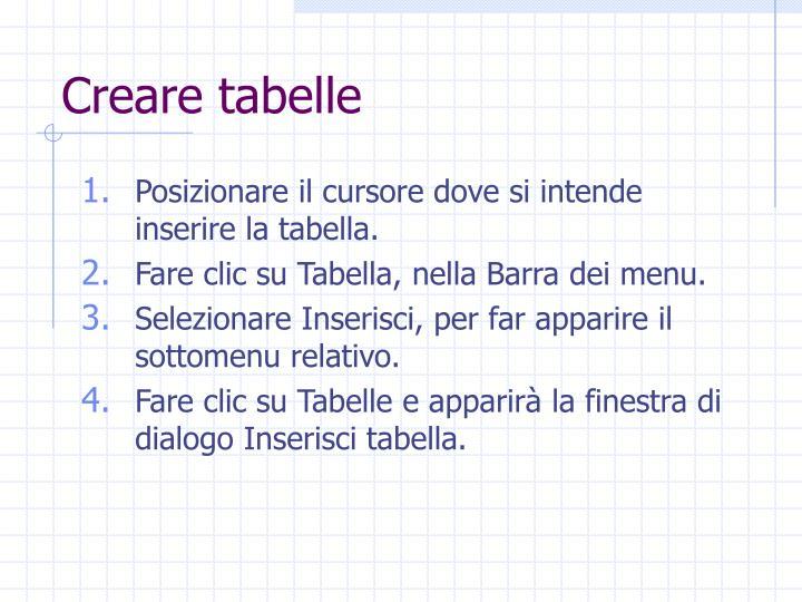 Creare tabelle