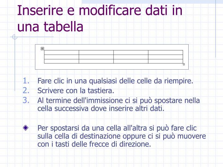 Inserire e modificare dati in una tabella