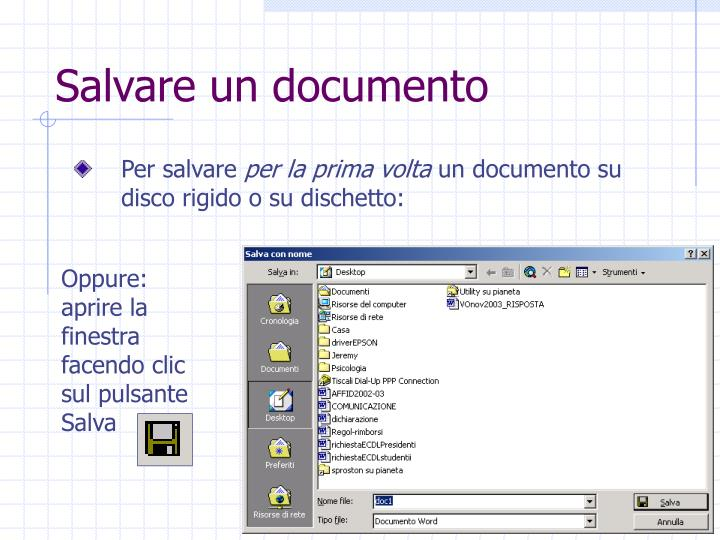 Salvare un documento