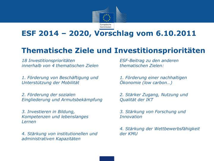 ESF 2014 – 2020, Vorschlag vom 6.10.2011