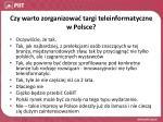 czy warto zorganizowa targi teleinformatyczne w polsce