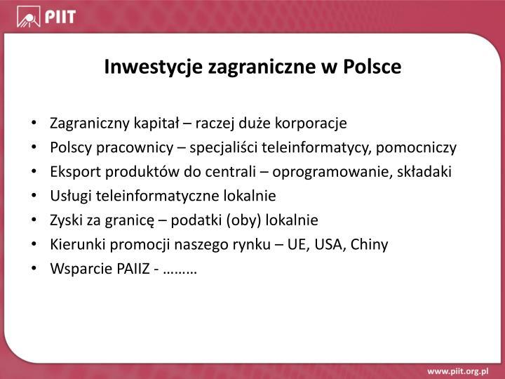 Inwestycje zagraniczne w Polsce