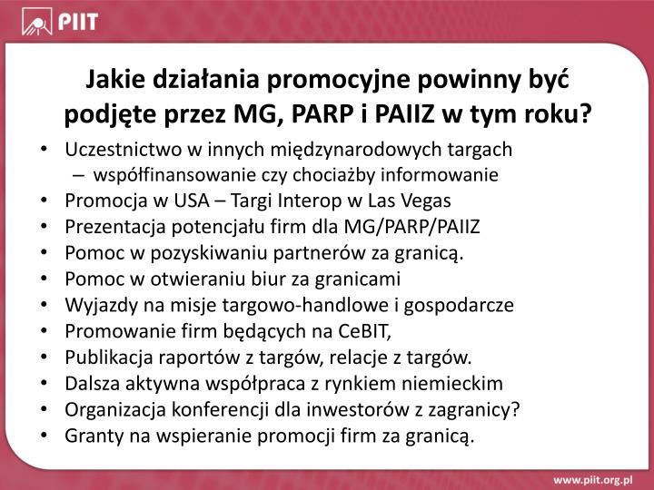 Jakie działania promocyjne powinny być podjęte przez MG, PARP i PAIIZ w tym roku?