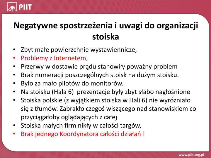 Negatywne spostrzeżenia i uwagi do organizacji stoiska