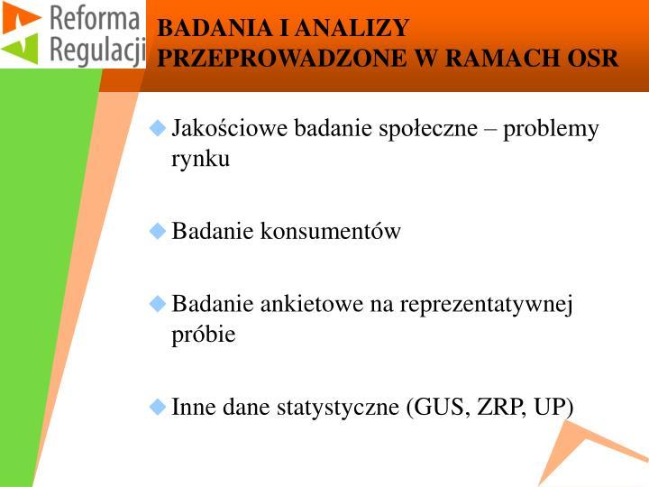BADANIA I ANALIZY PRZEPROWADZONE W RAMACH OSR