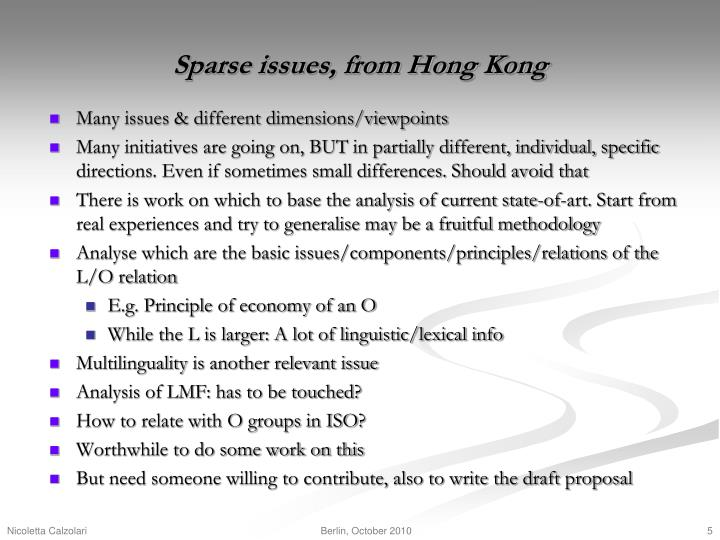 Sparse issues, from Hong Kong