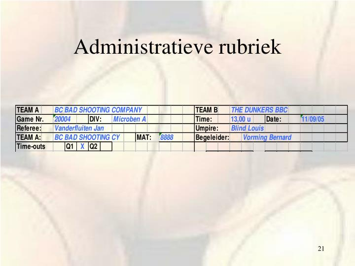 Administratieve rubriek