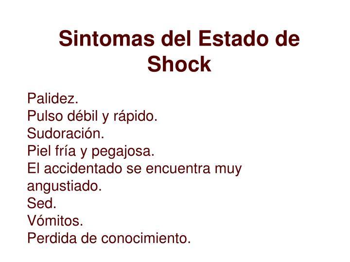 Sintomas del Estado de Shock