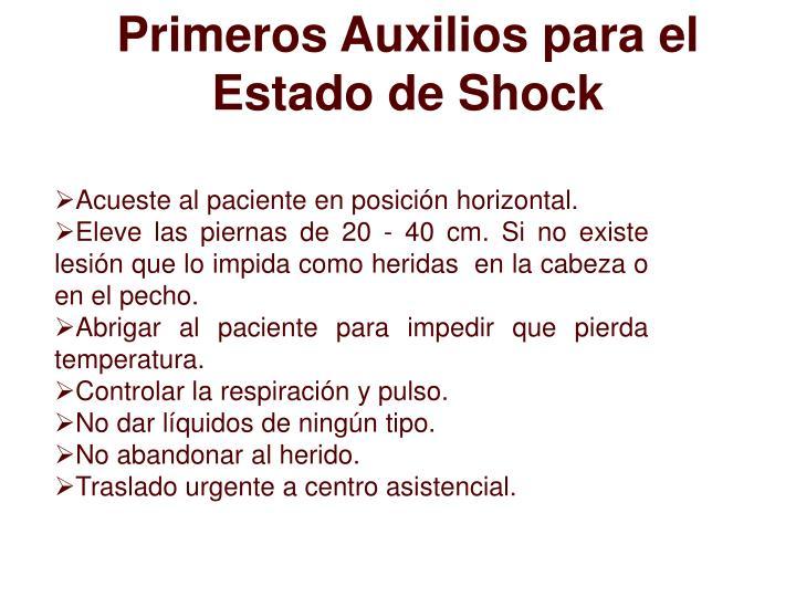 Primeros Auxilios para el Estado de Shock