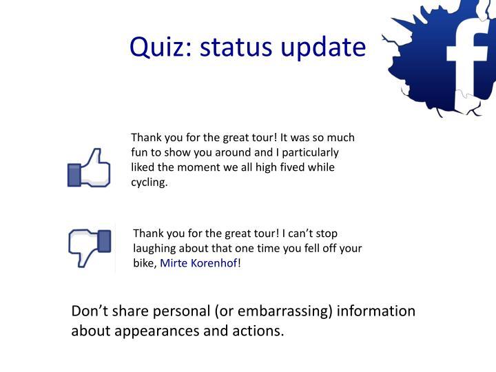 Quiz: status update