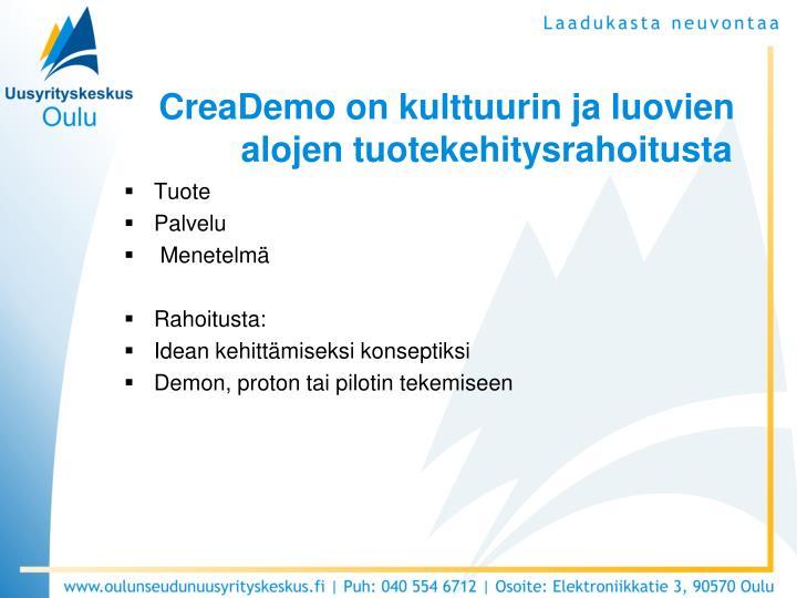 CreaDemo on kulttuurin ja luovien