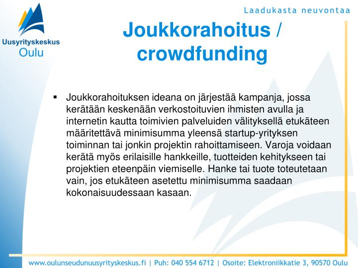 Joukkorahoitus / crowdfunding