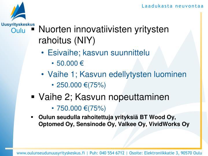 Nuorten innovatiivisten yritysten rahoitus (NIY)