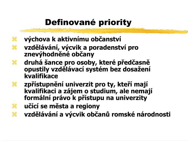 Definované priority