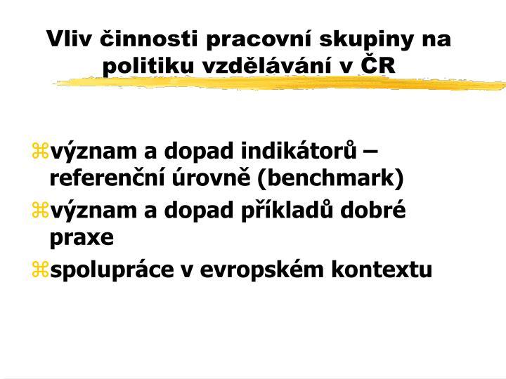 Vliv činnosti pracovní skupiny na politiku vzdělávání v ČR