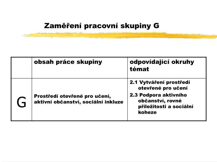 Zaměření pracovní skupiny G