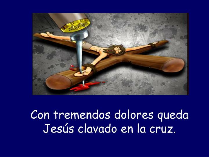 Con tremendos dolores queda Jesús clavado en la cruz.