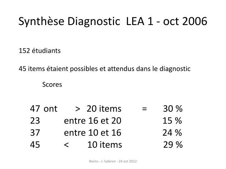 Synthèse Diagnostic  LEA 1
