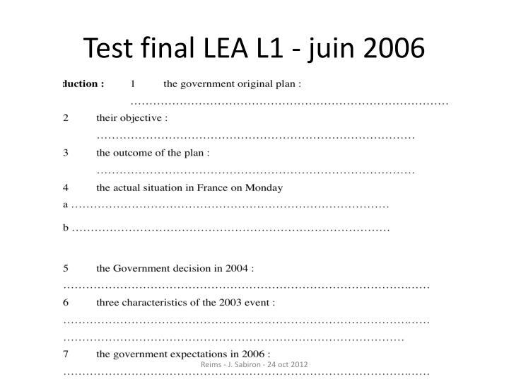 Test final LEA L1 - juin 2006