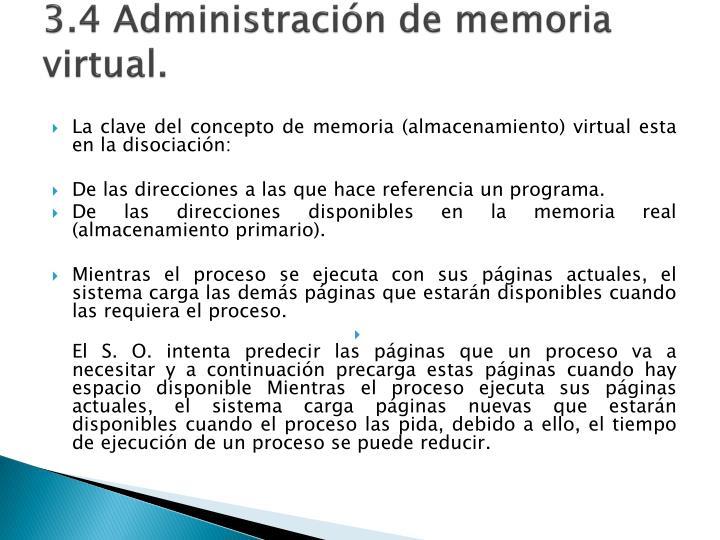 3.4 Administración de memoria virtual.
