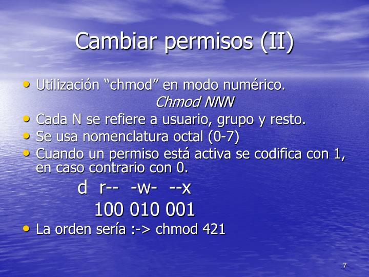 Cambiar permisos (II)