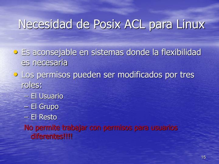 Necesidad de Posix ACL para Linux