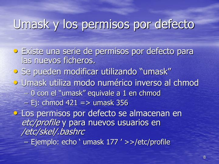 Umask y los permisos por defecto