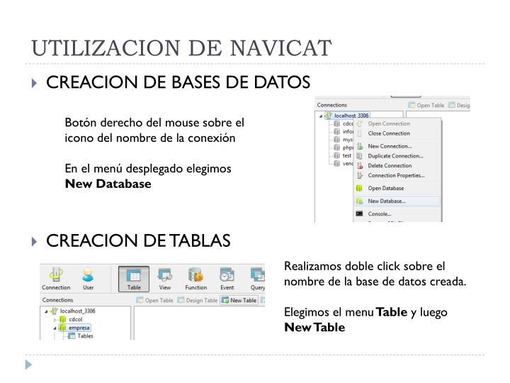 UTILIZACION DE NAVICAT