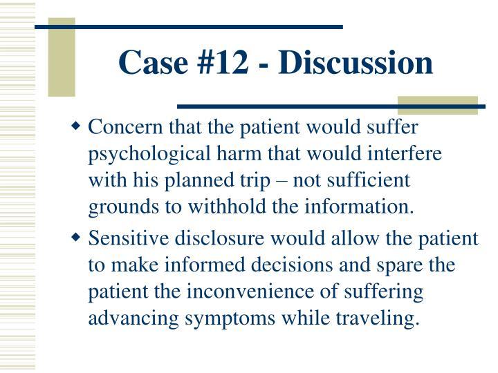Case #12 - Discussion