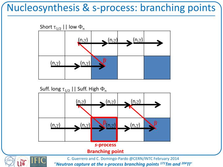Nucleosynthesis s process branching points