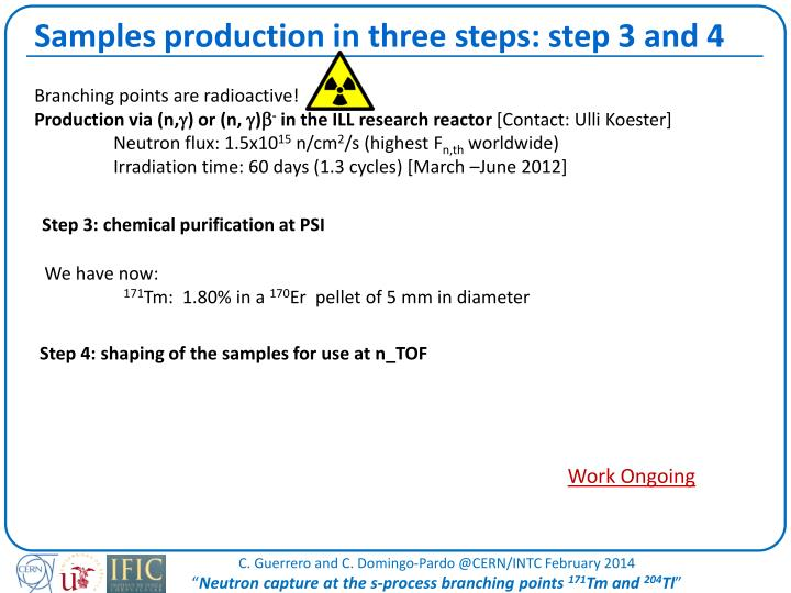 Samples production in three steps: step 3 and 4