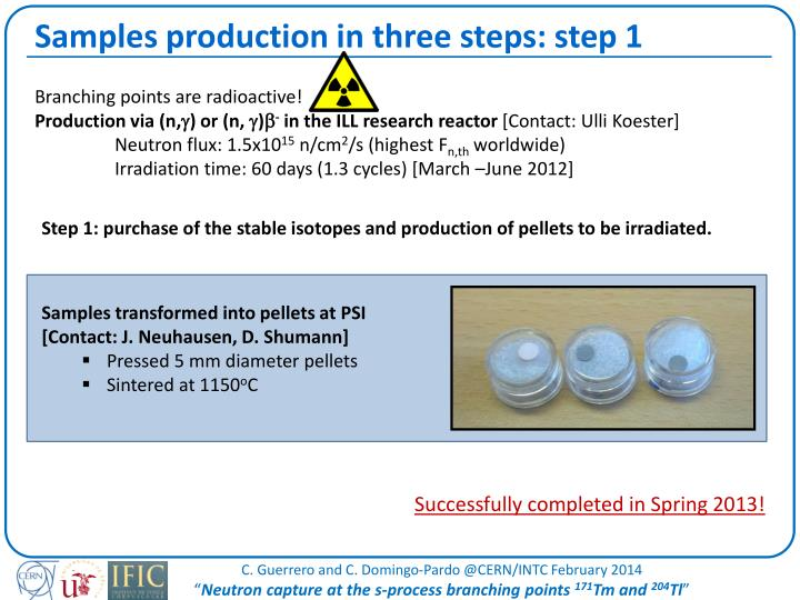 Samples production in three steps: step 1