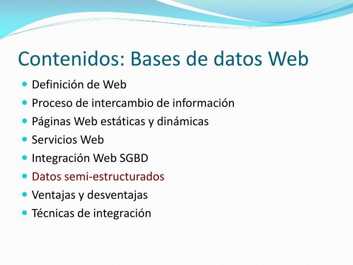 Contenidos: Bases de datos Web