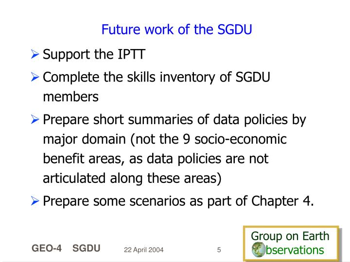Future work of the SGDU
