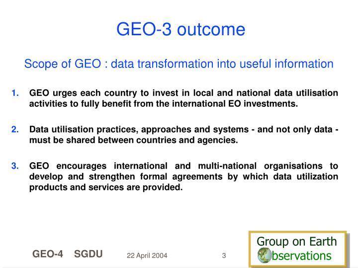 GEO-3 outcome