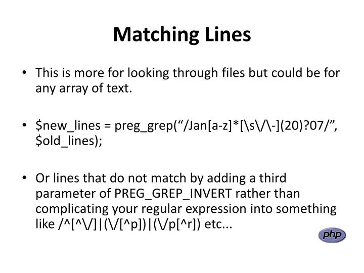 Matching Lines