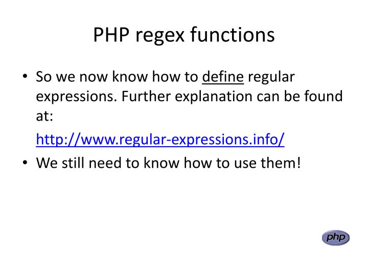 PHP regex functions