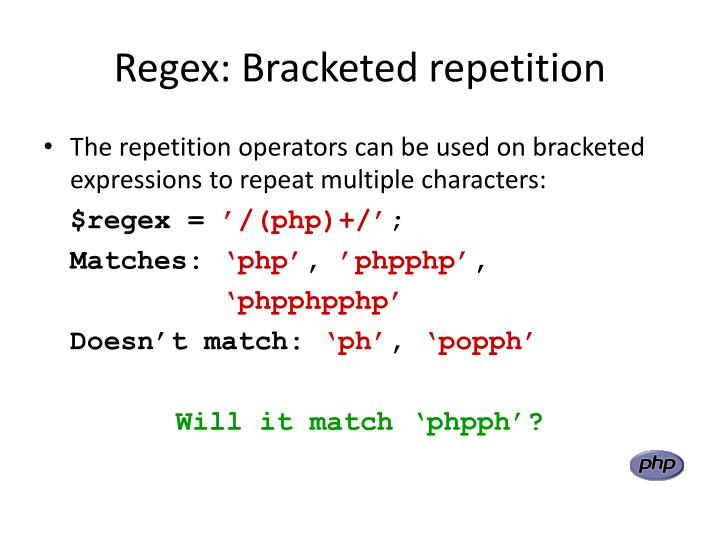 Regex: Bracketed repetition