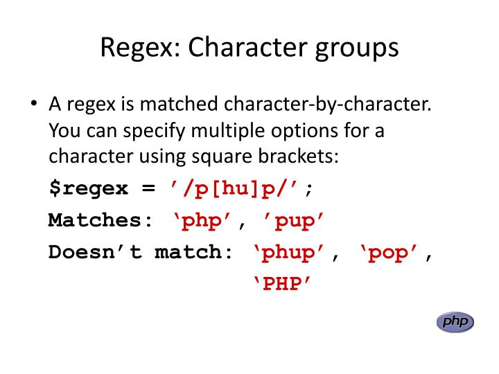Regex: Character groups