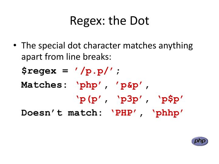Regex: the Dot