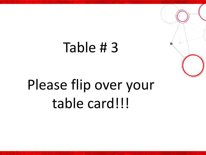 Table # 3